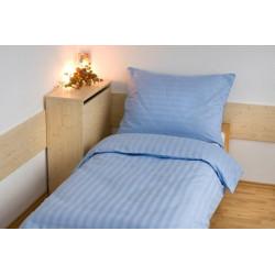 Hotelové povlečení atlas grádl 2cm proužek 140x200,70x90cm modré
