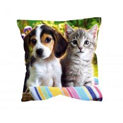 Fotopolštář Pes a kočka 40x40cm