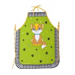 Zástěra dětská Kočička zelená