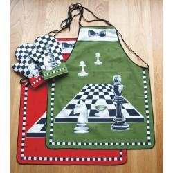 Zástěra a chňapka, Šachy zeleno - černá dvojkombinace