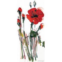 Fototapeta vliesová vlčí mák akvarel 90 x 202 cm AG Design FTN V 2829