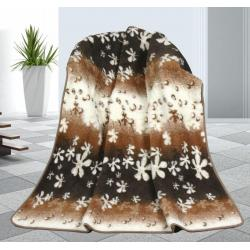 Vlněná deka 155x200cm květy - evropské merino