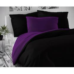 Saténové prodloužené povlečení LUXURY COLLECTION 140x220, 70x90cm černé / tmavě fialové