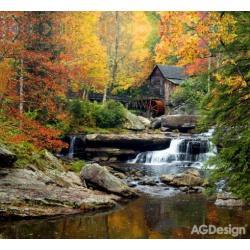 Fotozávěs Dimout vodní mlýn na podzim 280 x 245 cm AG Design FCP XXL 6402