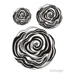 Samolepky na zeď černostříbrná růže 65 x 85 cm AG Design FL 0477