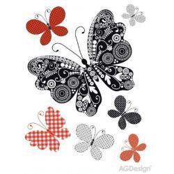 Samolepky na zeď motýli černá stříbrná a červená 65 x 85 cm AG Design FL 0482