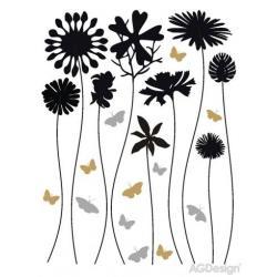 Samolepky na zeď květiny a motýli 65 x 85 cm AG Design FL 0487