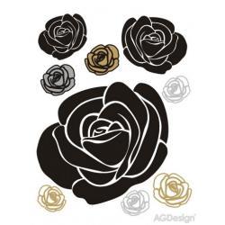 Samolepka na zeď růže zlatá a stříbrná 65 x 85 cm AG Design FL 0488