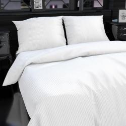 Hotelové povlečení atlas grádl 1cm proužek 140x200,70x90cm bílé