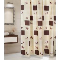 Koupelnový závěs Hnědé čtverce 180 x200 cm