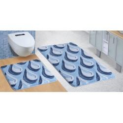 Koupelnová a WC předložka ULTRA Kapky modré