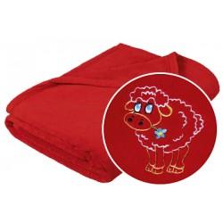 Dětská přikrývka Micro 100x150cm červená ovečka
